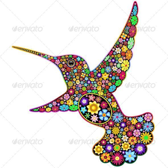 GraphicRiver Hummingbird Floral Ornamental Art Design 5074373