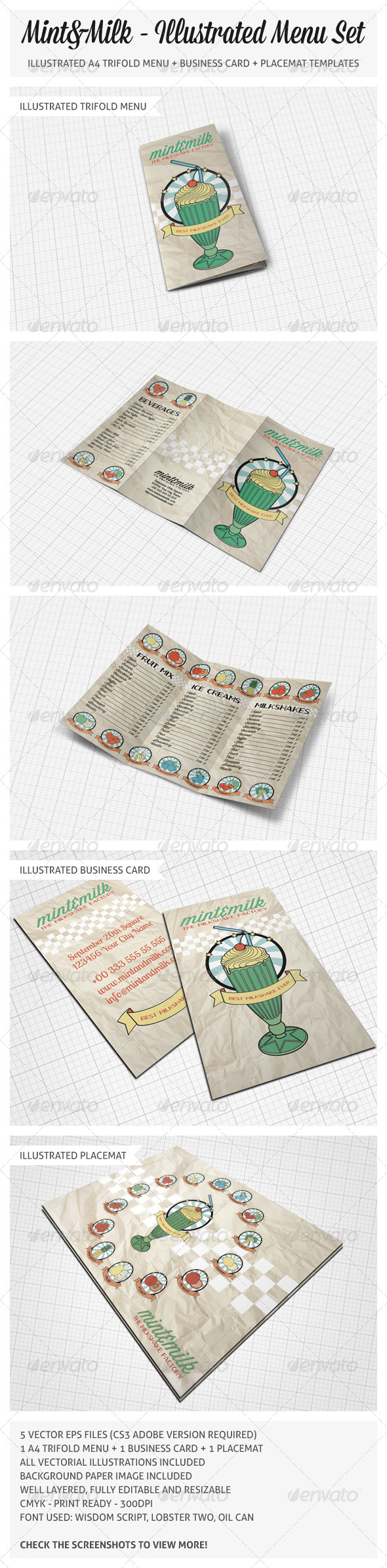GraphicRiver Illustrated Trifold Menu Set 5010965