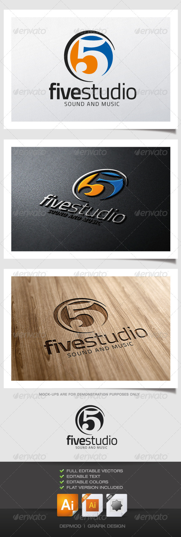 Five Studio Logo - Numbers Logo Templates