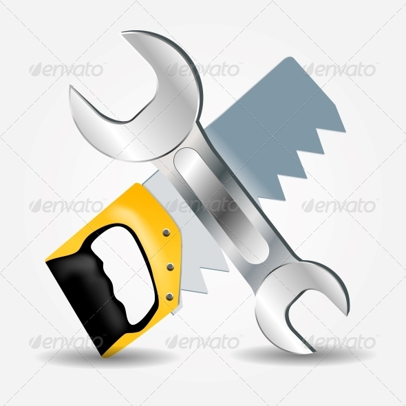 GraphicRiver Saw and Wrench Icon 5075675