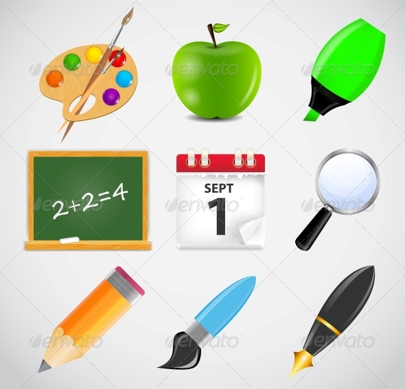GraphicRiver Different School Icon Vector Illustration Set 1 5075703