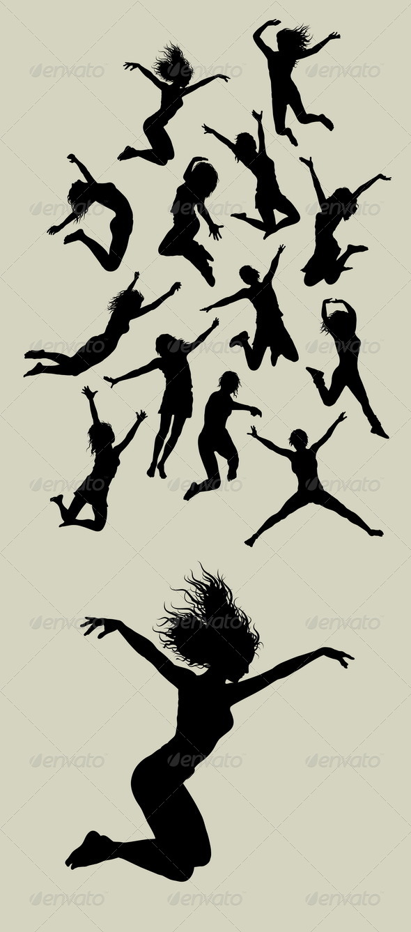 Girl Jumping Silhouettes - People Characters