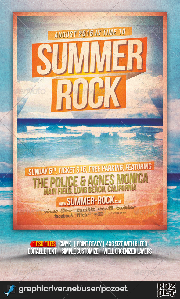 Summer Rock Flyer/ Poster Template - Concerts Events
