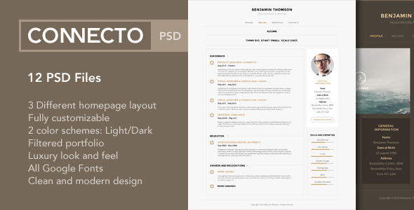 connecto modern vcard resume psd template