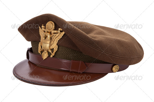 World War II Officer&#x27;s Cap isolated on white - Stock Photo - Images