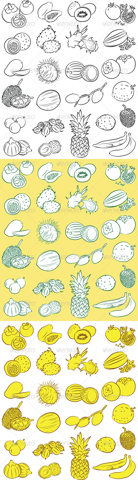 GraphicRiver Tropical Fruits Vector 5084002