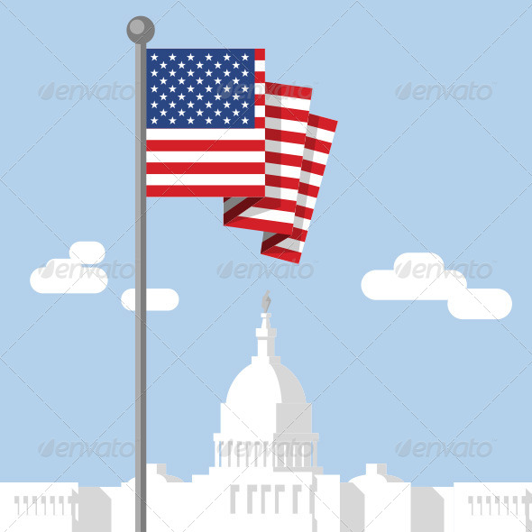 GraphicRiver American Flag & Capitol 4152128