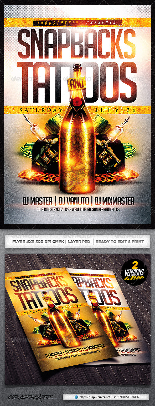 Snapbacks and Tattoos Flyer Template - Clubs & Parties Events