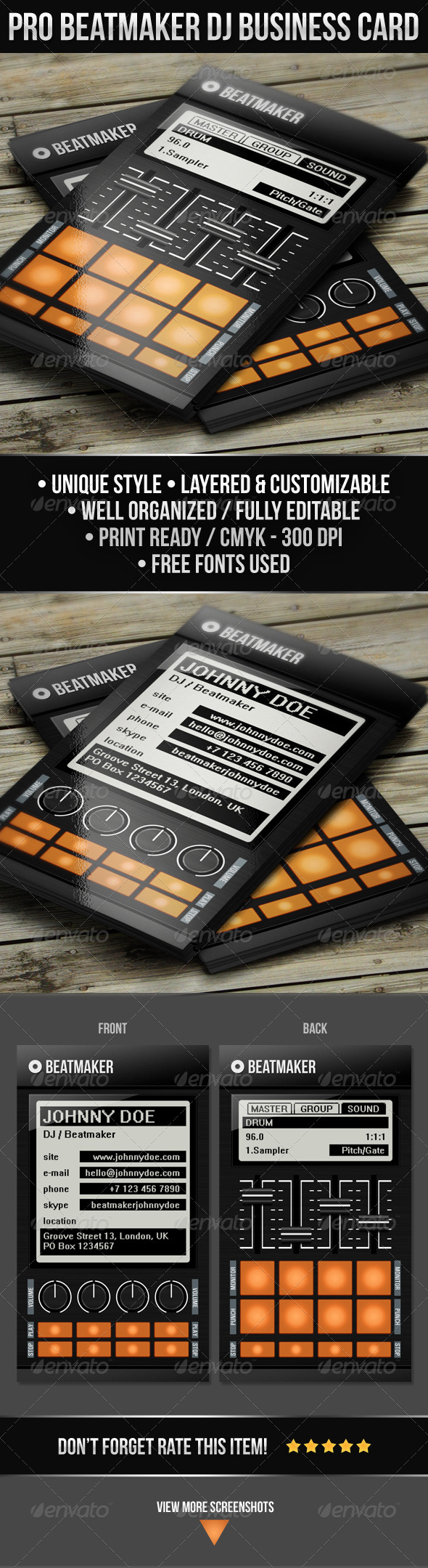 GraphicRiver Pro Beatmaker DJ Business Card 5088000