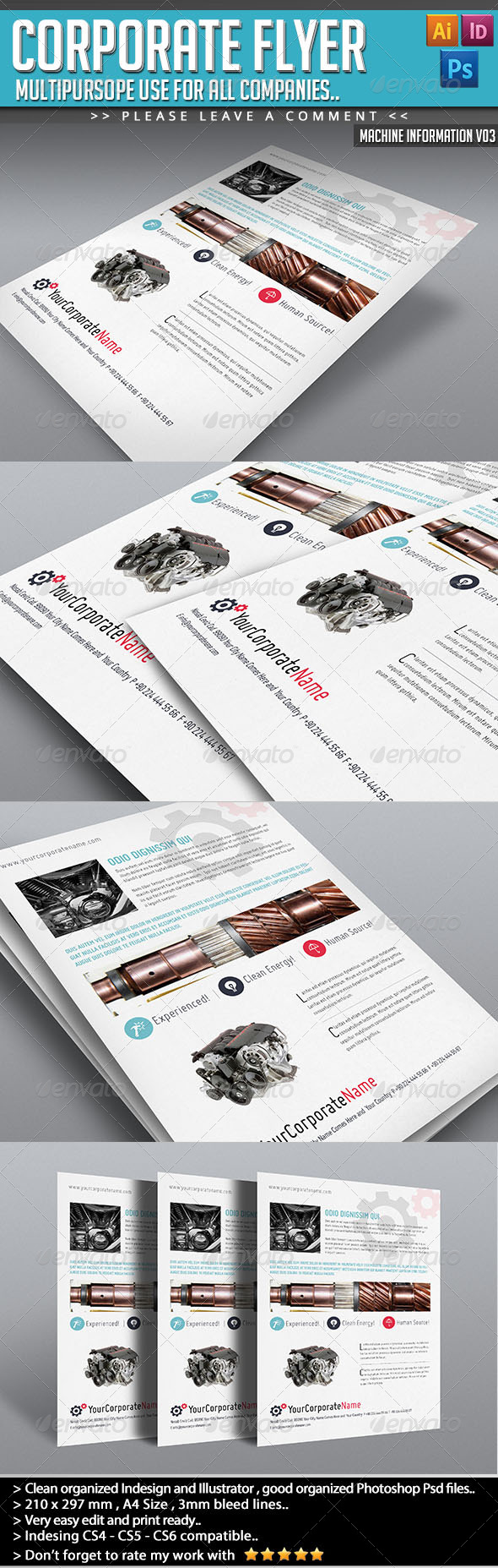 GraphicRiver Corporate Flyer Machine Informations V03 5088645
