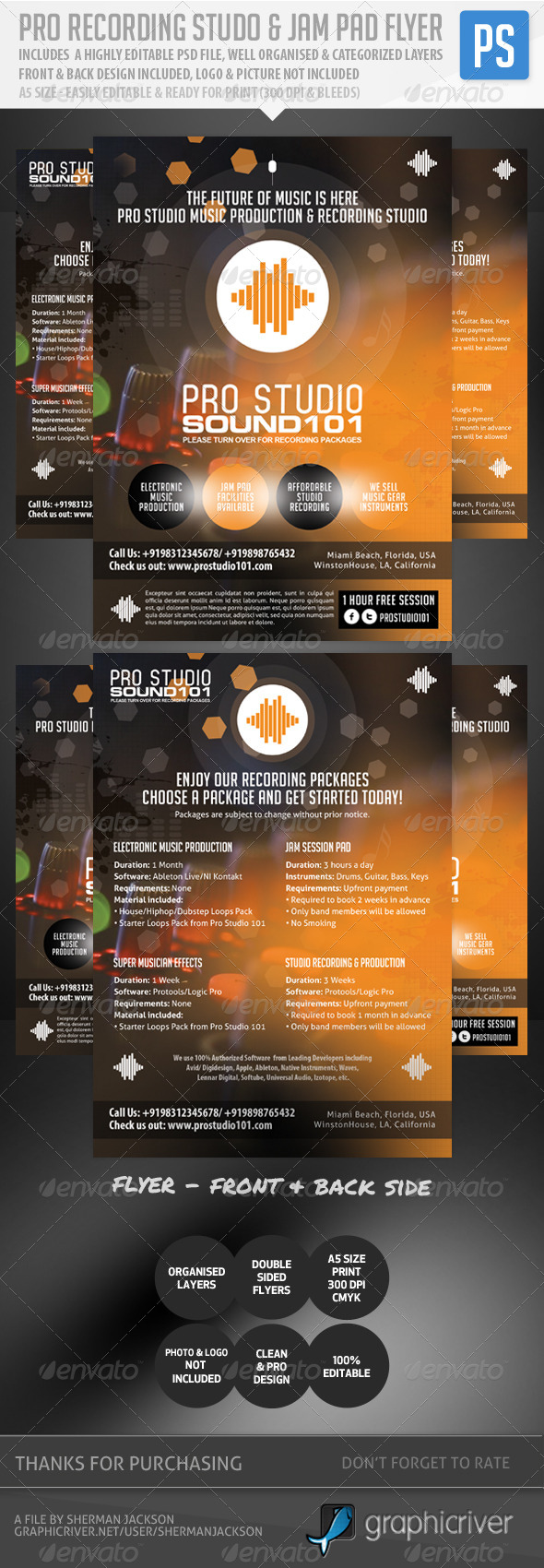 GraphicRiver Pro Recording Studio & Jam Pad Flyer 5088742