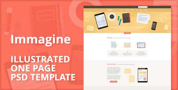 Immagine - Illustrated One Page PSD Template