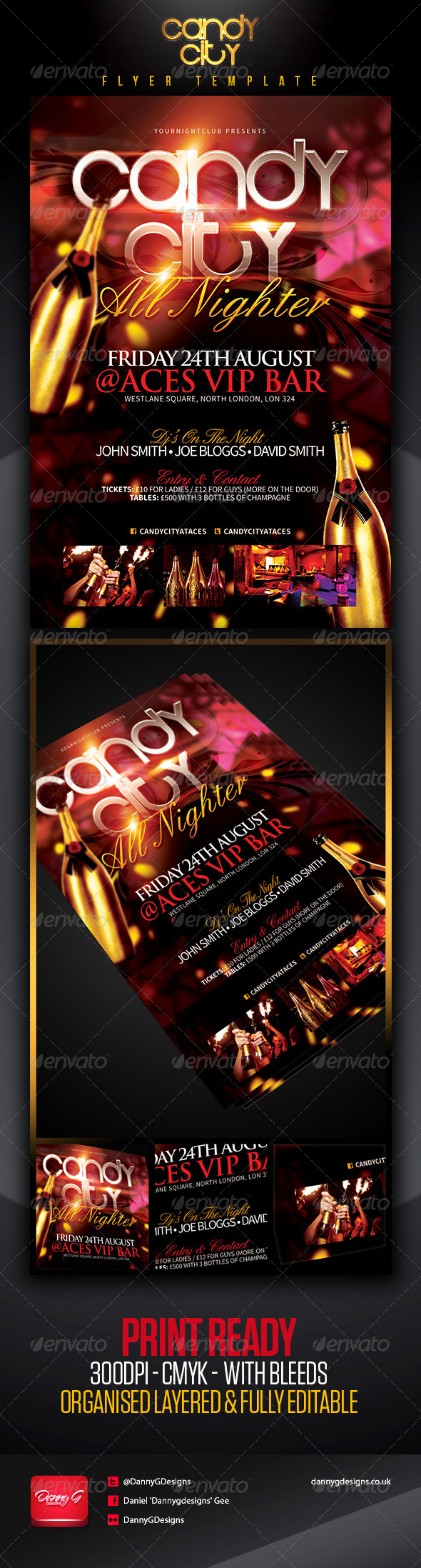 Candy City V.I.P Flyer Template - Clubs & Parties Events