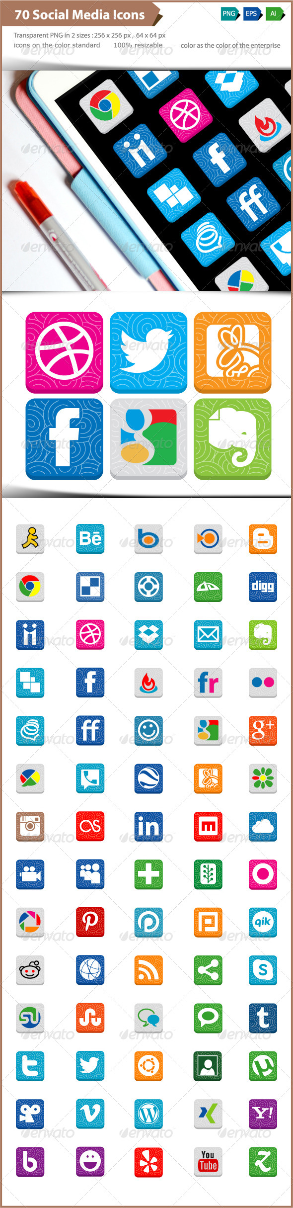 GraphicRiver Social Media Icons Patterns and Textures 4916020