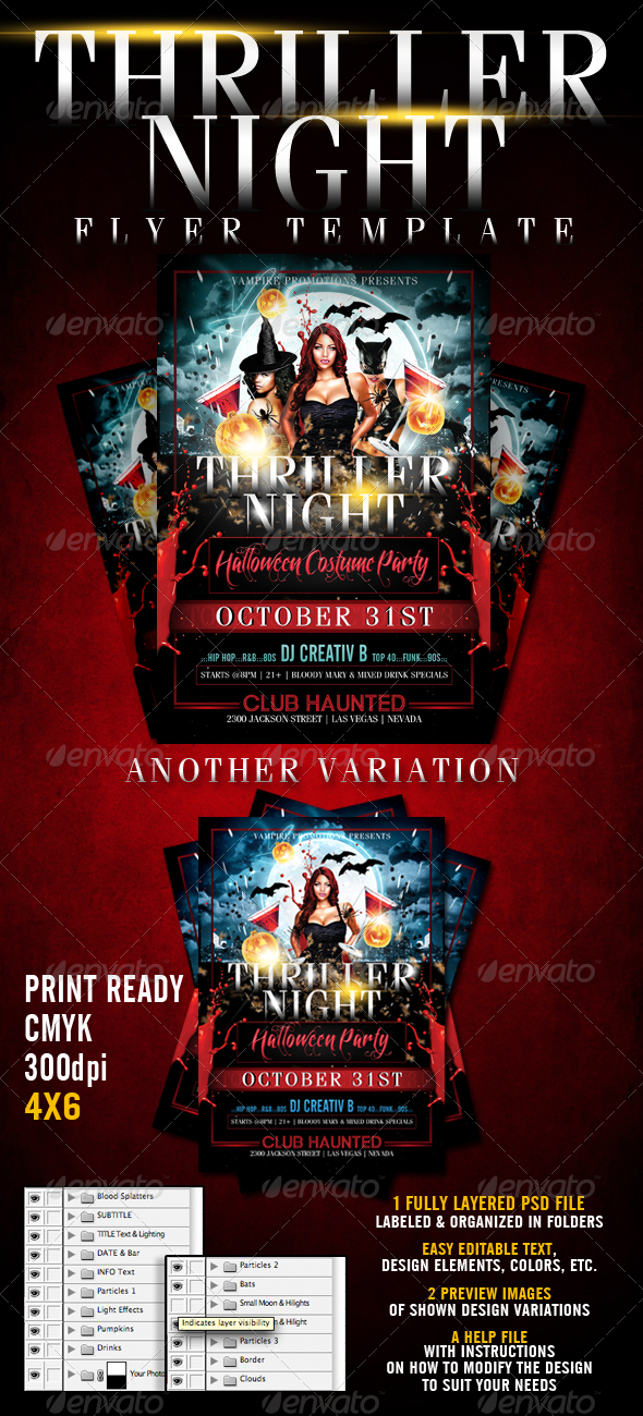 Thriller Night Halloween Flyer Template - Clubs & Parties Events