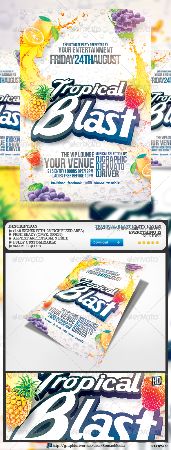 GraphicRiver Tropical Blast Party Flyer 5093254