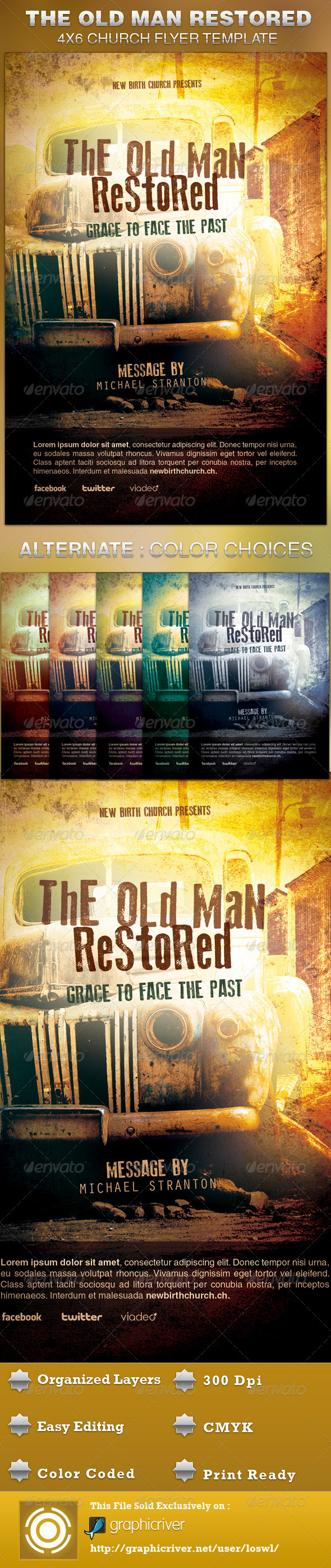 Old Man Restored Church Flyer Template - Church Flyers