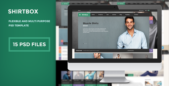ShirtBox - Flat Design & Multipupose PSD Template