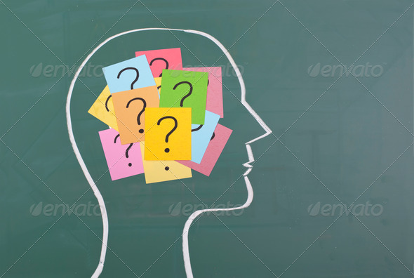 Human brain and colorful question mark - Stock Photo - Images