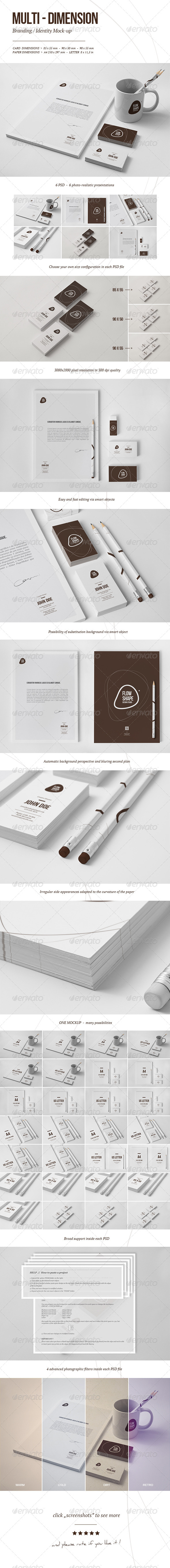 Multi-dimension Branding / Identity Mock-up IV - Stationery Print