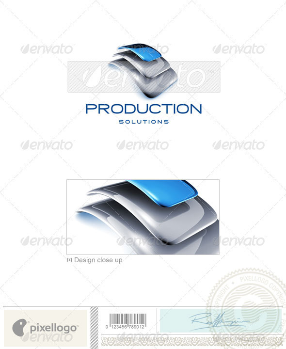 Communications Productions 3D Logo Template Design