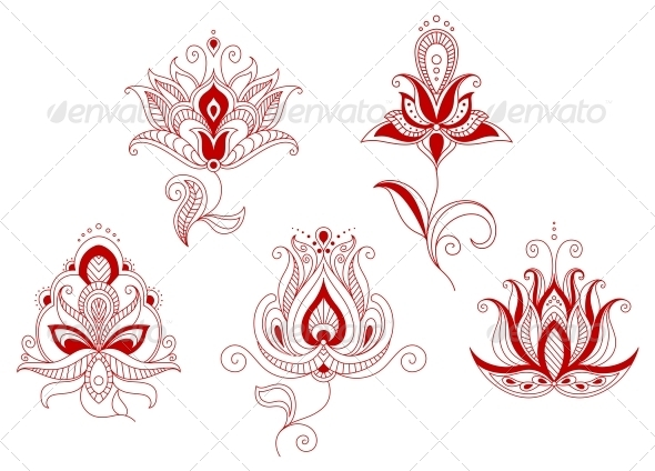GraphicRiver Set of Abstract Flowers in Persian and Indian Motif 5104176
