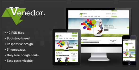 ThemeForest Venedor Bootstrap Responsive eCommerce PSD 5101438