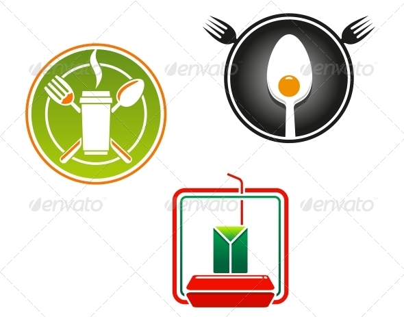 GraphicRiver Fast Food Emblems and Symbols 5105673