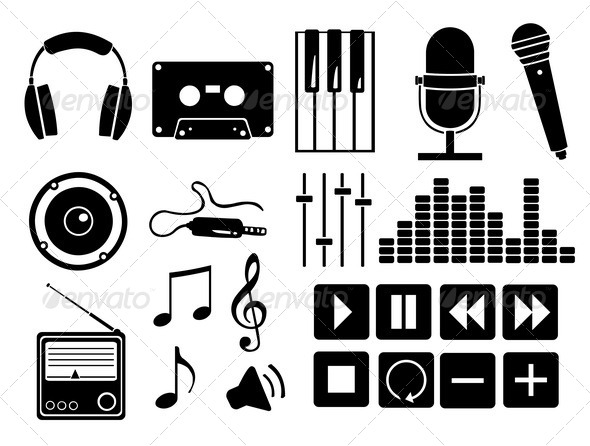 GraphicRiver Vector Set of Music Icons and Buttons 5091741
