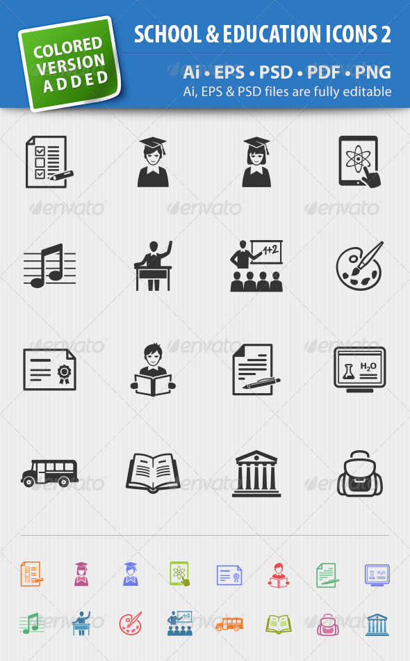 School and Education Icons-Set 2 - Web Icons