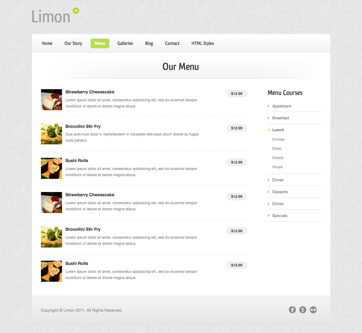Limon - A Restaurant and Spa Theme - Menu - Accordion-style menu with images (a variation of this without images is also included).