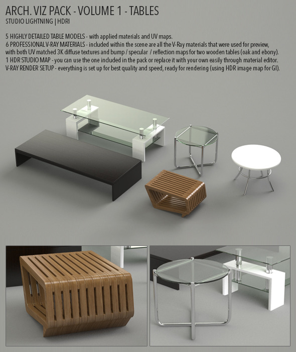 Arch Viz Pack Volume 1 - Tables - 3DOcean Item for Sale