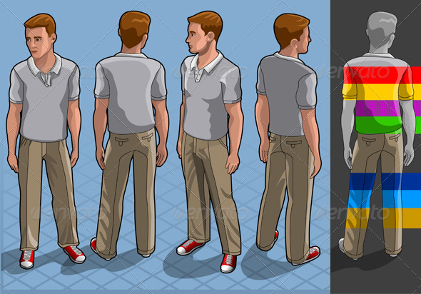 GraphicRiver Isometric Service Man in Four Positions 5120062