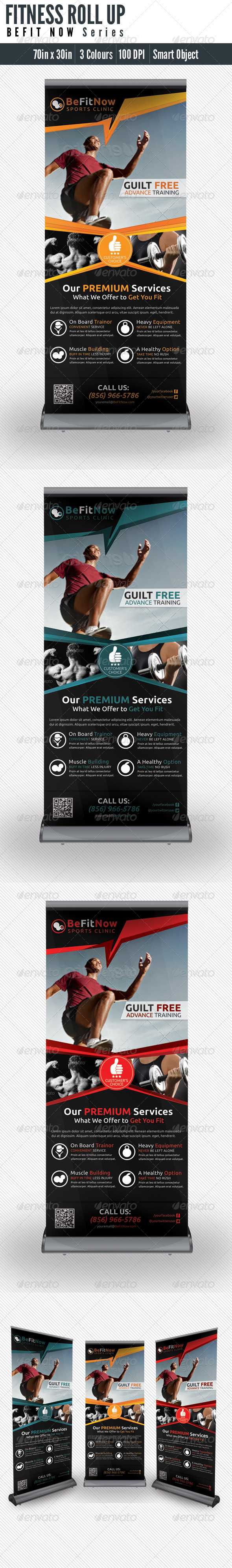 Fitness Roll UP Banner  - Signage Print Templates