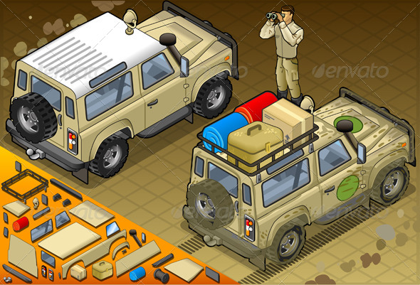 GraphicRiver Isometric Safari Jeep with Guide in Rear View 5120256