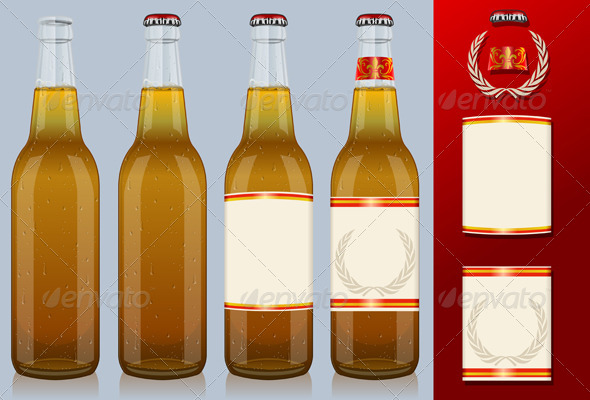 GraphicRiver Four Beer Bottles with Labels 5120595