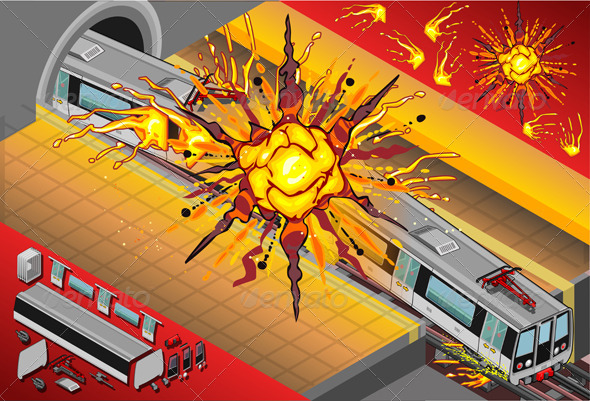 GraphicRiver Isometric Metro Wagons Exploded in the Station 5120664