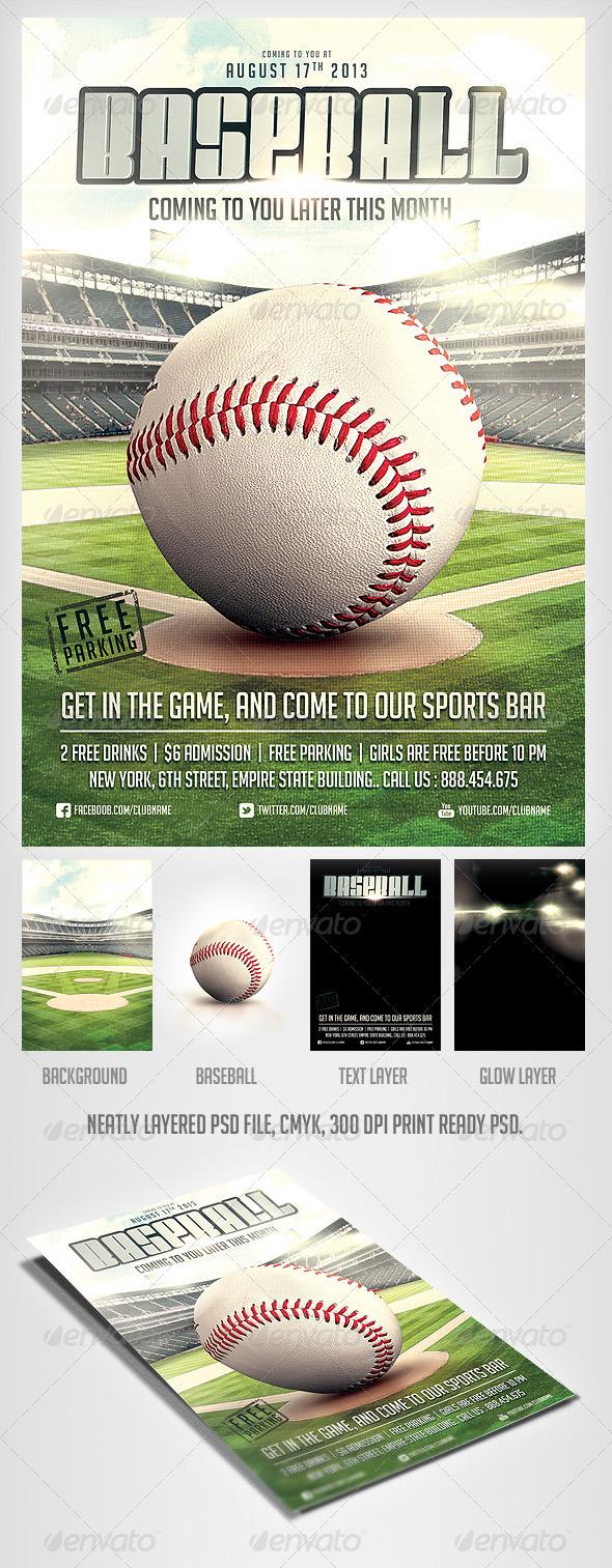 baseball game flyer template sports events. Black Bedroom Furniture Sets. Home Design Ideas