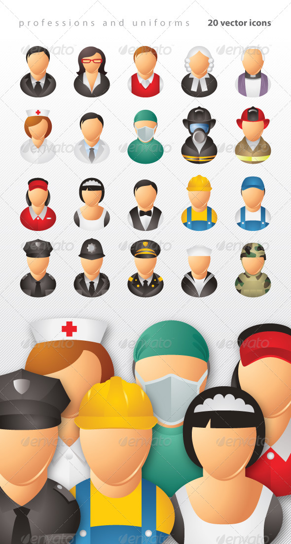 GraphicRiver Professions and Uniforms Icons 5122132