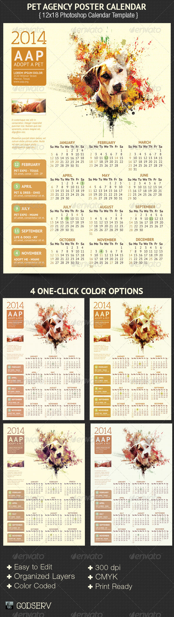 Pet Agency Poster Calendar Template - Calendars Stationery