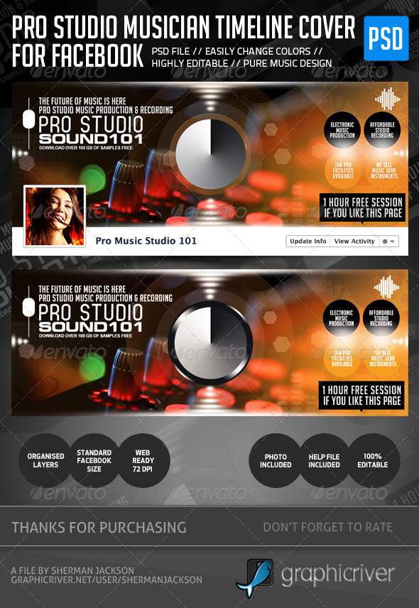 Pro Studio Musician Fb Cover  - Facebook Timeline Covers Social Media