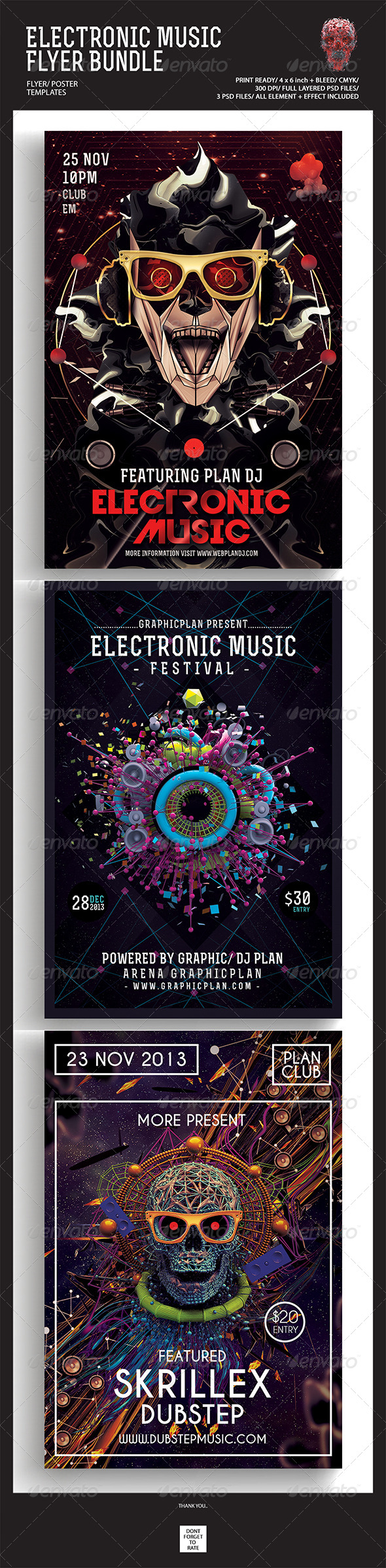 GraphicRiver Electronic Music Flyer Poster Bundle 5125896