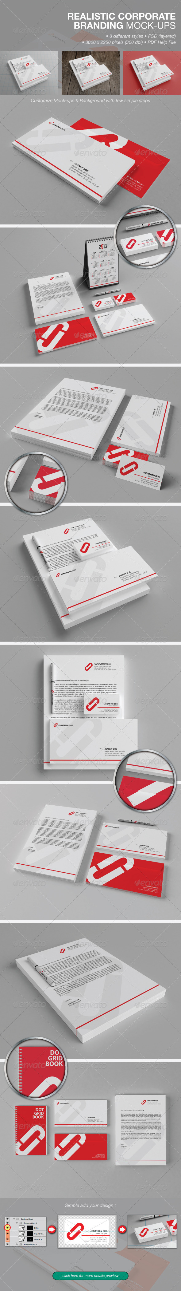 Realistic Corporate Branding Mock-ups - Product Mock-Ups Graphics