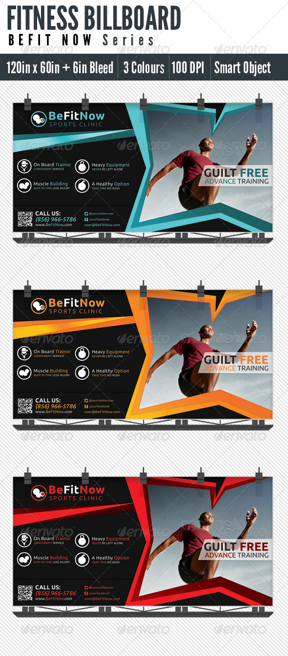 Billboard Fitness - Signage Print Templates