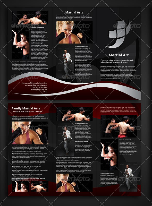 martial arts trifold brochure template graphicriver. Black Bedroom Furniture Sets. Home Design Ideas