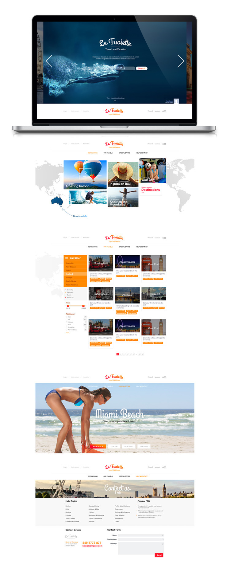 La Fouiette - Travel Agency one page Psd Template
