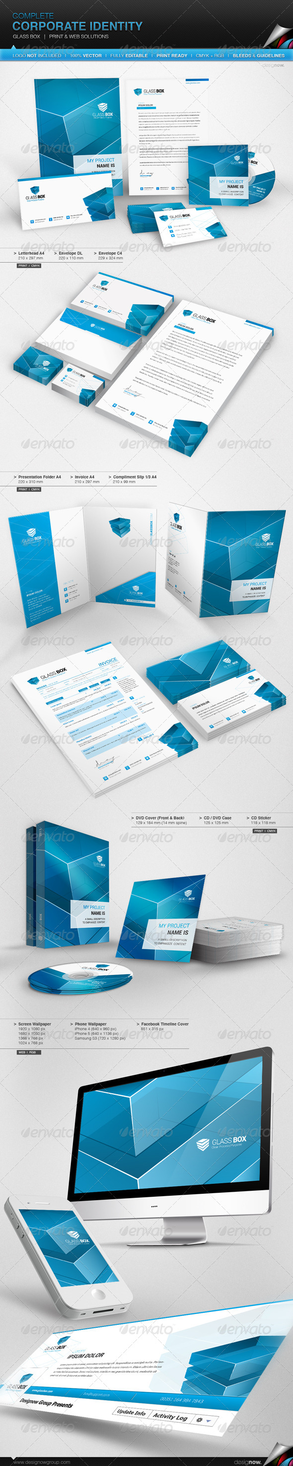 Corporate Identity - Glass Box - Stationery Print Templates
