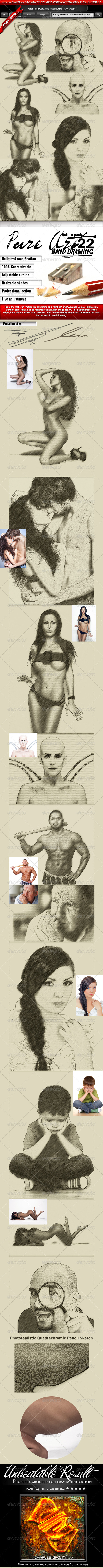 Pure Art Hand Drawing 22 – Quadrachromic Pencil - Photo Effects Actions