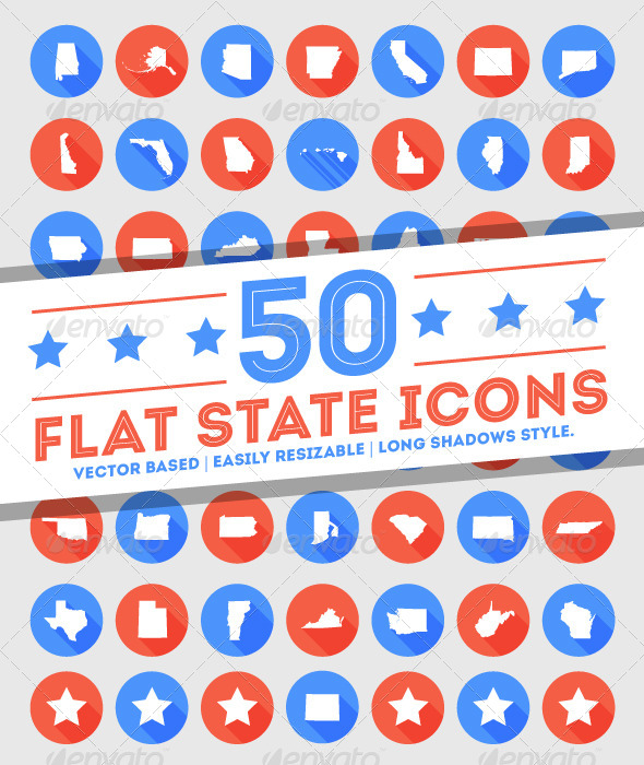 GraphicRiver 50 Flat U.S State Icons 5118226