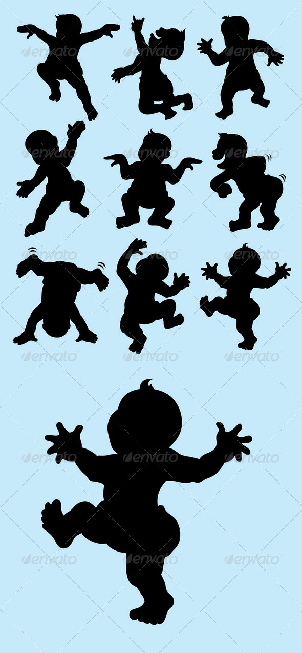 GraphicRiver Baby Dancing Silhouettes 5130090